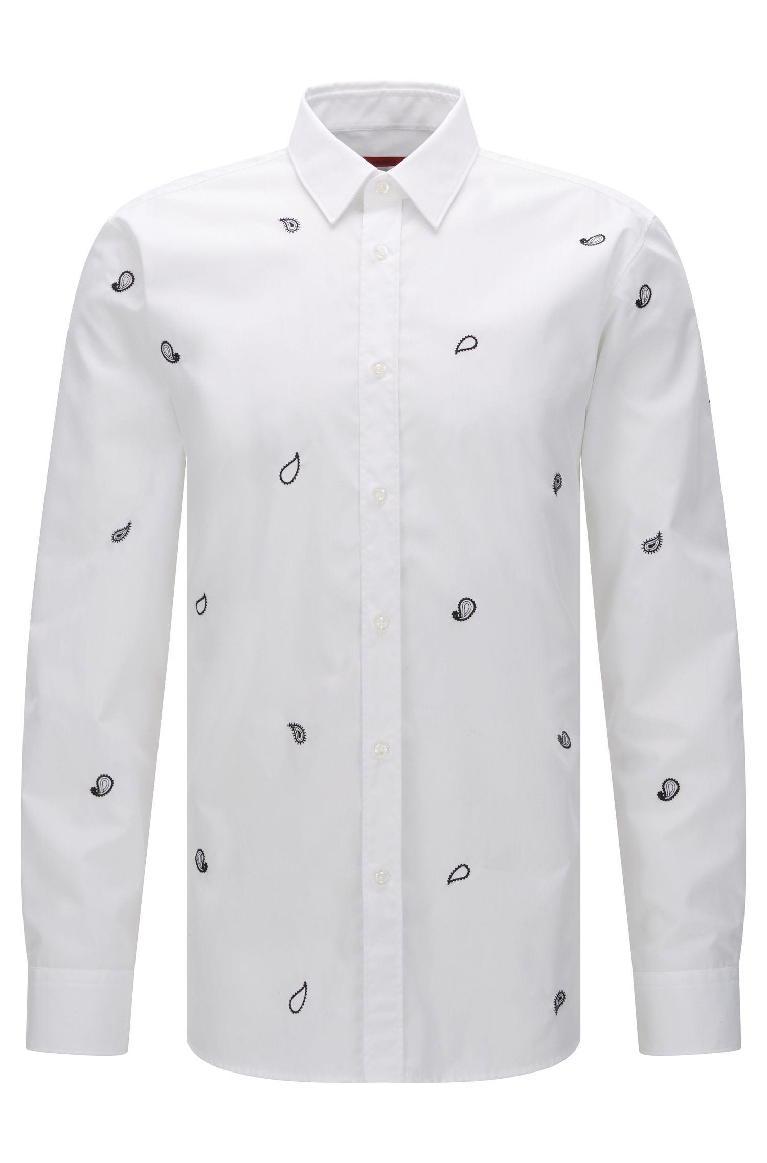 Slim-fit overhemd van katoen met een paisleydessin