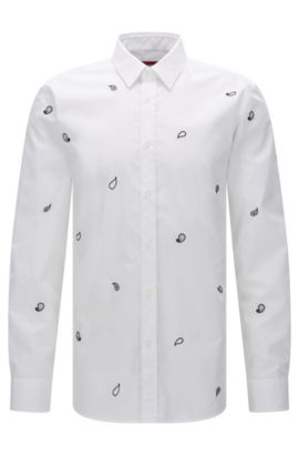 Slim-fit shirt in cotton with paisley pattern, Open White