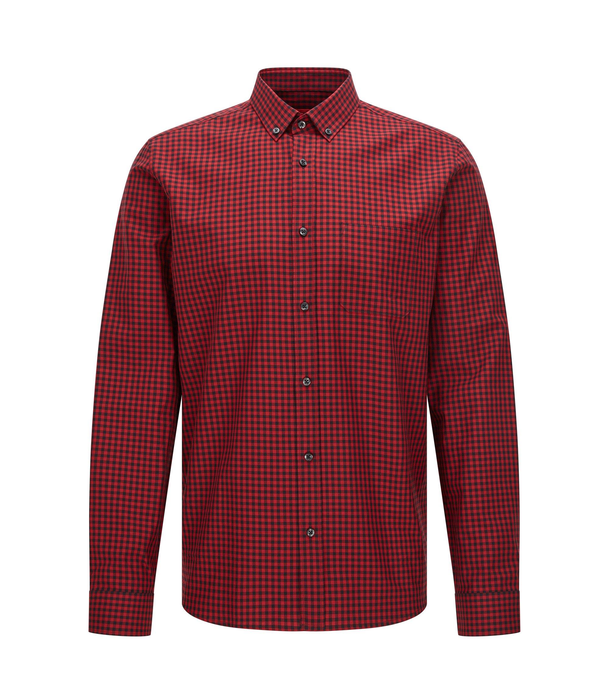 Chemise Relaxed Fit en coton, à motif vichy, Rouge sombre