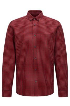 Relaxed-fit overhemd van katoen met vichyruiten, Donkerrood