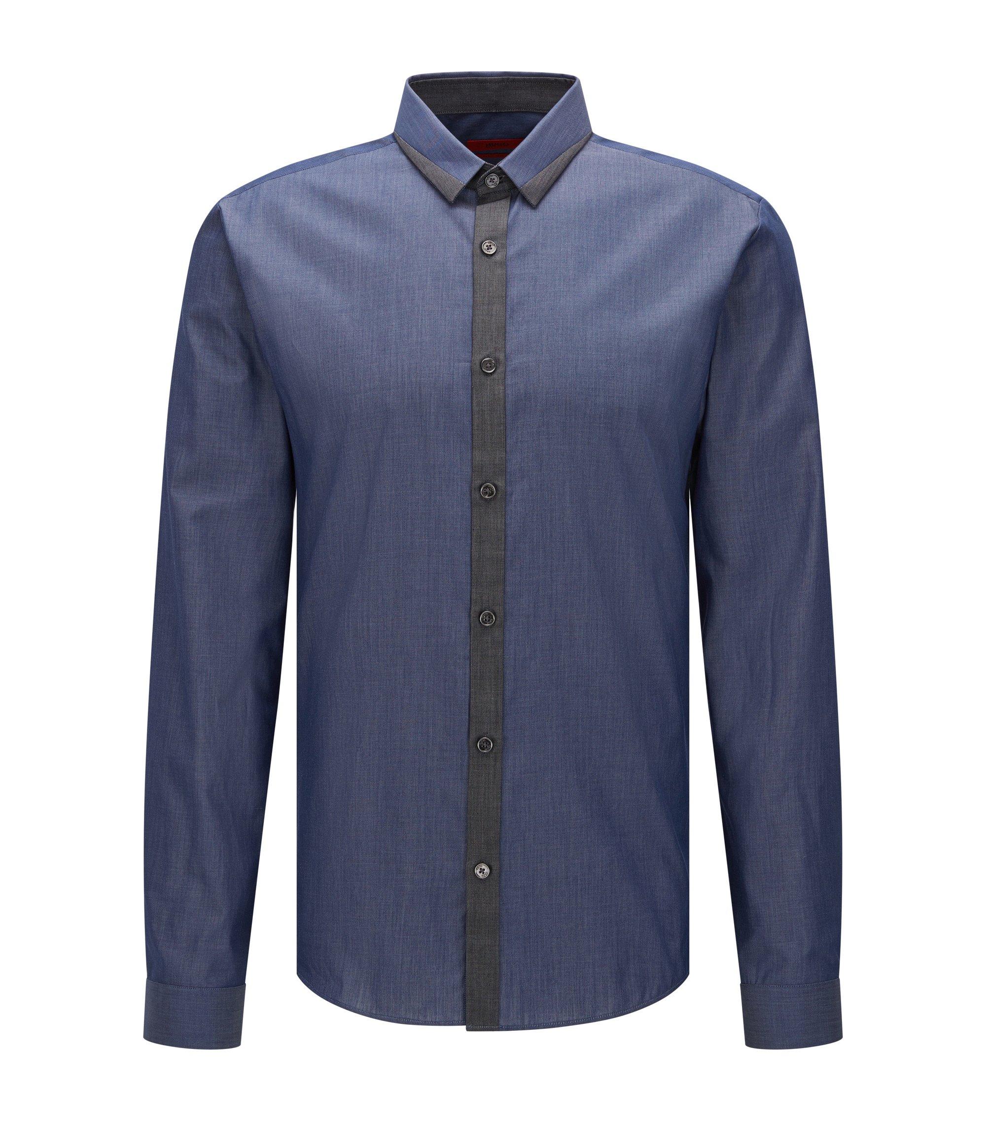 Extra Slim-Fit Hemd aus Baumwolle in verschiedenen Denim-Tönen, Dunkelblau