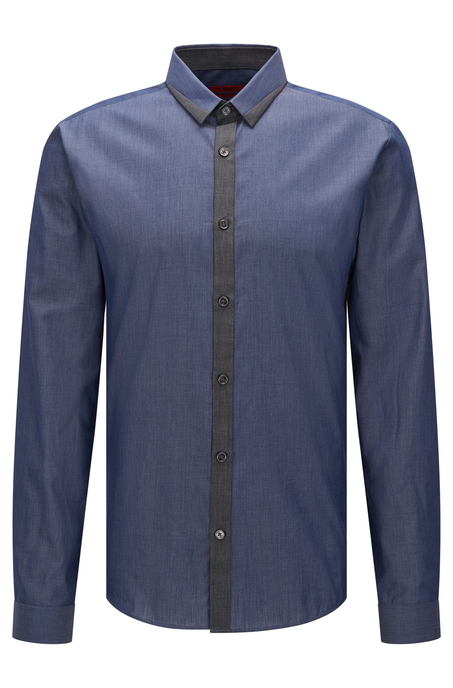 Extra-slim-fit shirt in mixed denim hues