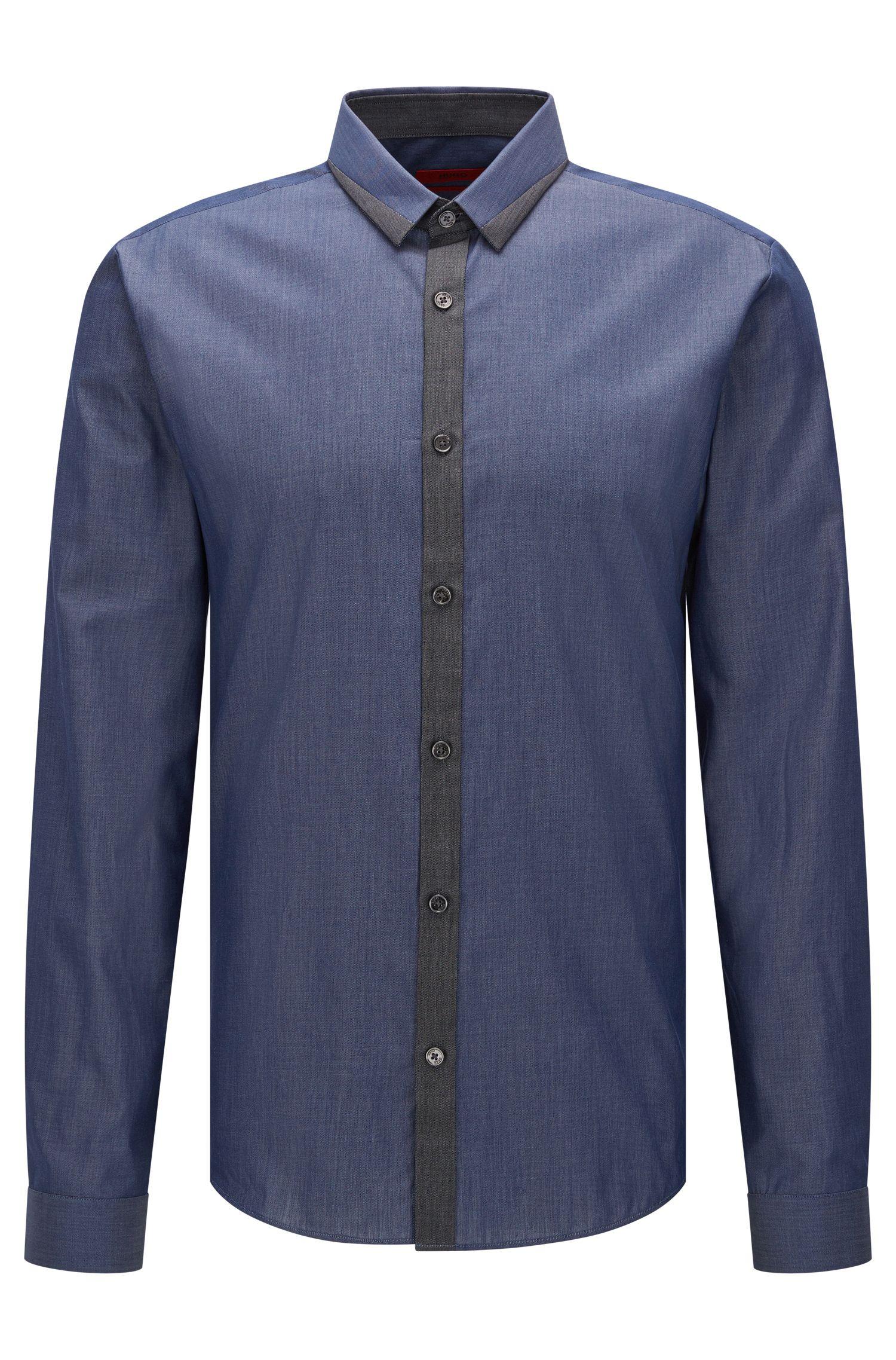 Extra slim-fit overhemd van gemengde denimtinten