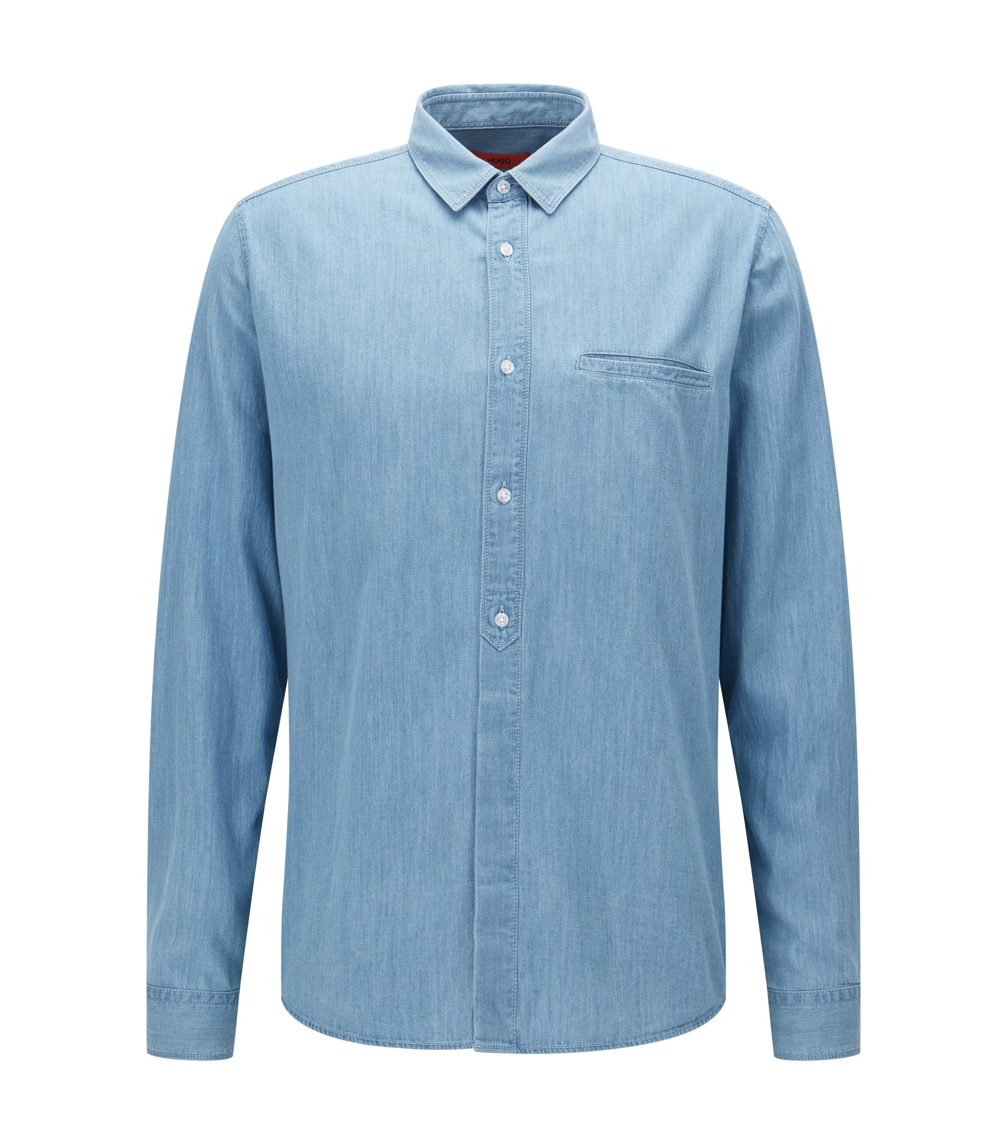 Relaxed-Fit Hemd aus Washed Denim, Hellblau