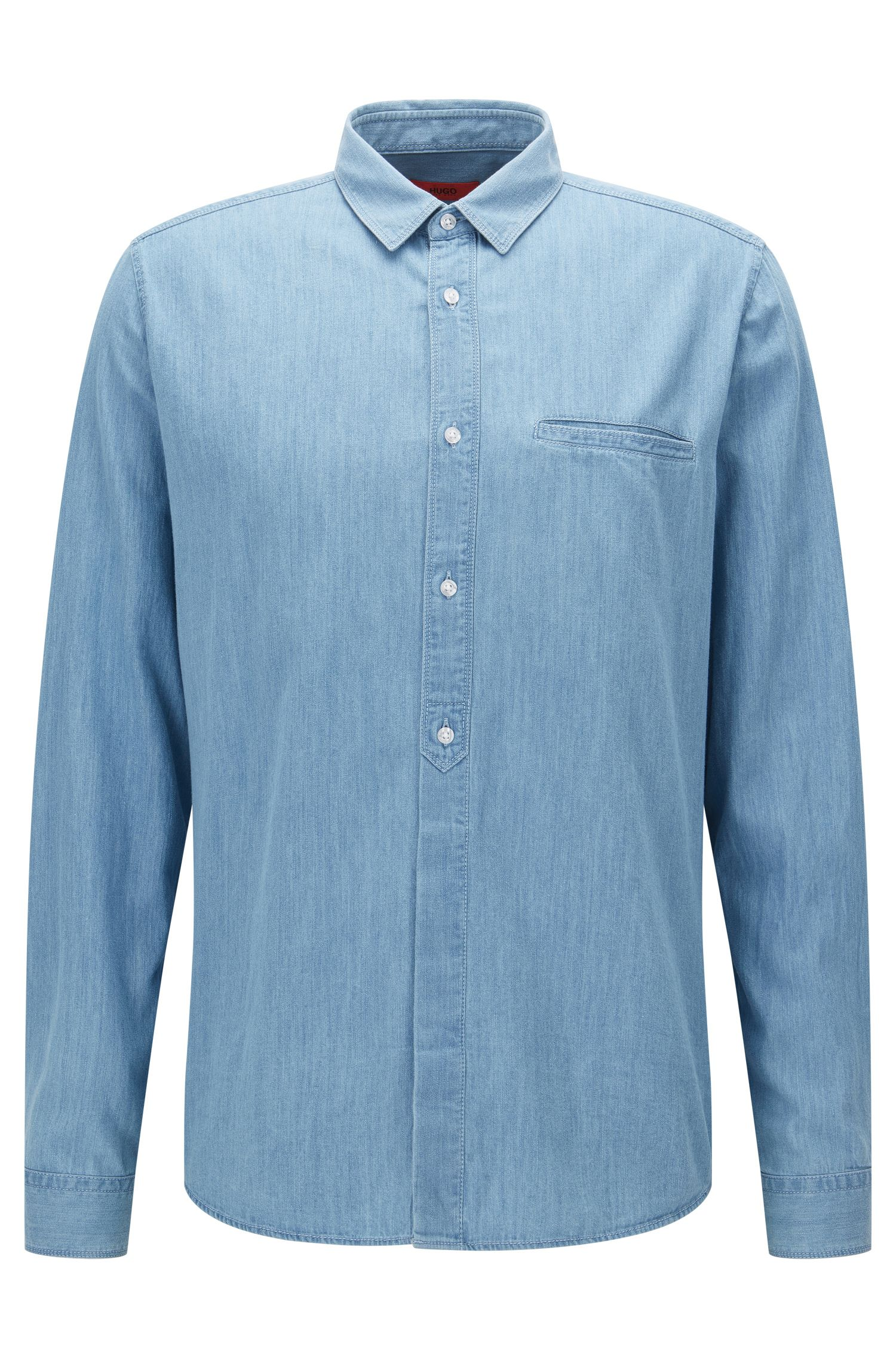 Camisa relaxed fit en denim lavado
