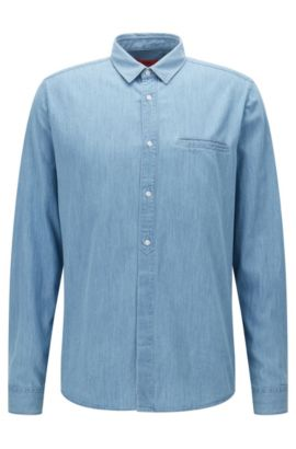 Camisa relaxed fit en denim lavado, Celeste