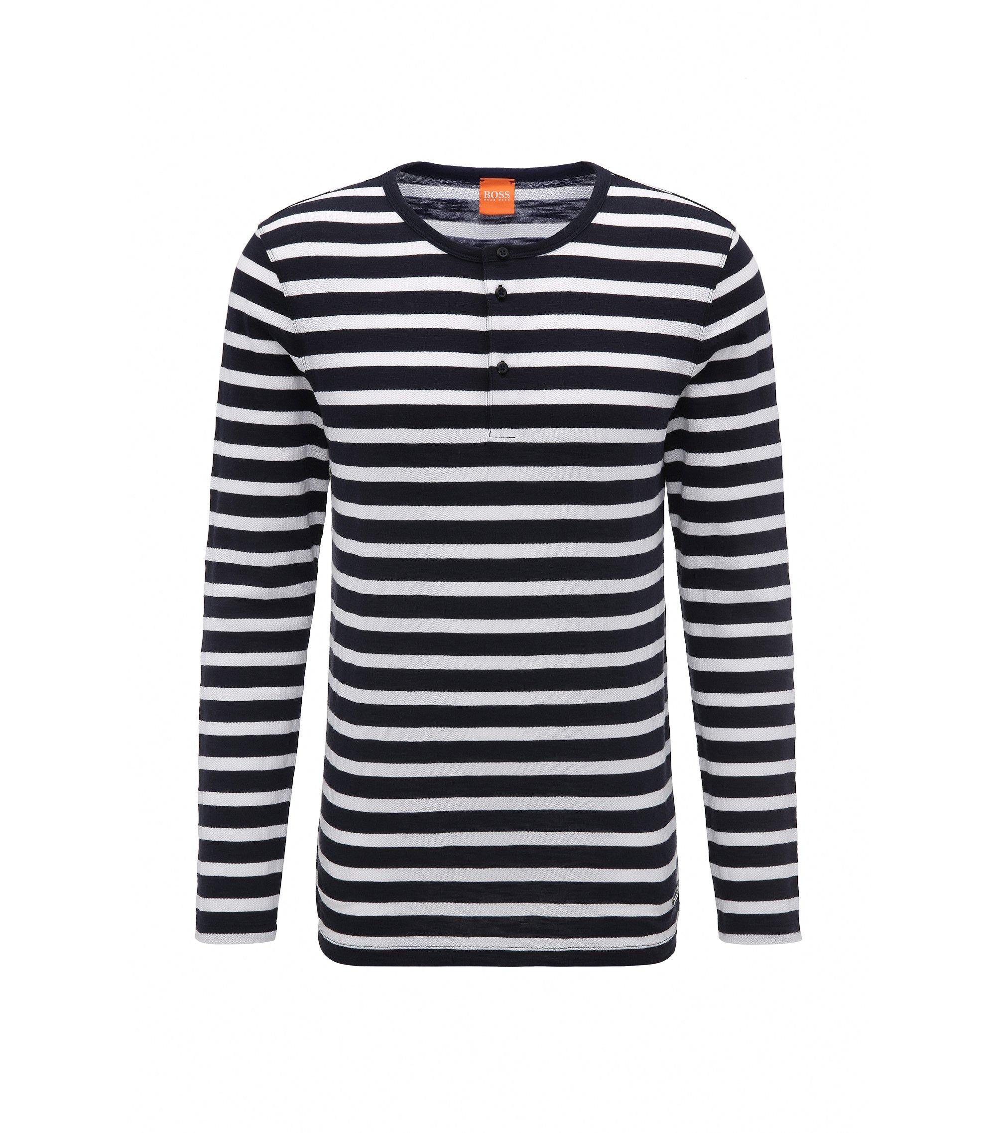 Regular-fit Henley T-shirt in striped cotton, Dark Blue