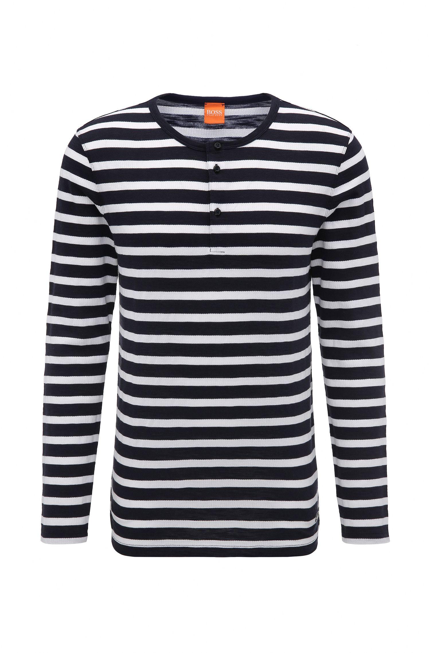 Regular-fit henley-T-shirt van gestreepte katoen