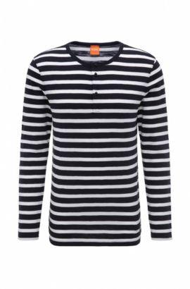 Regular-fit henley-T-shirt van gestreepte katoen, Donkerblauw