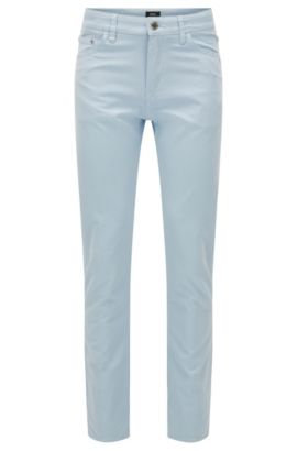 Regular-fit jeans in Italian Oxford fabric, Light Blue