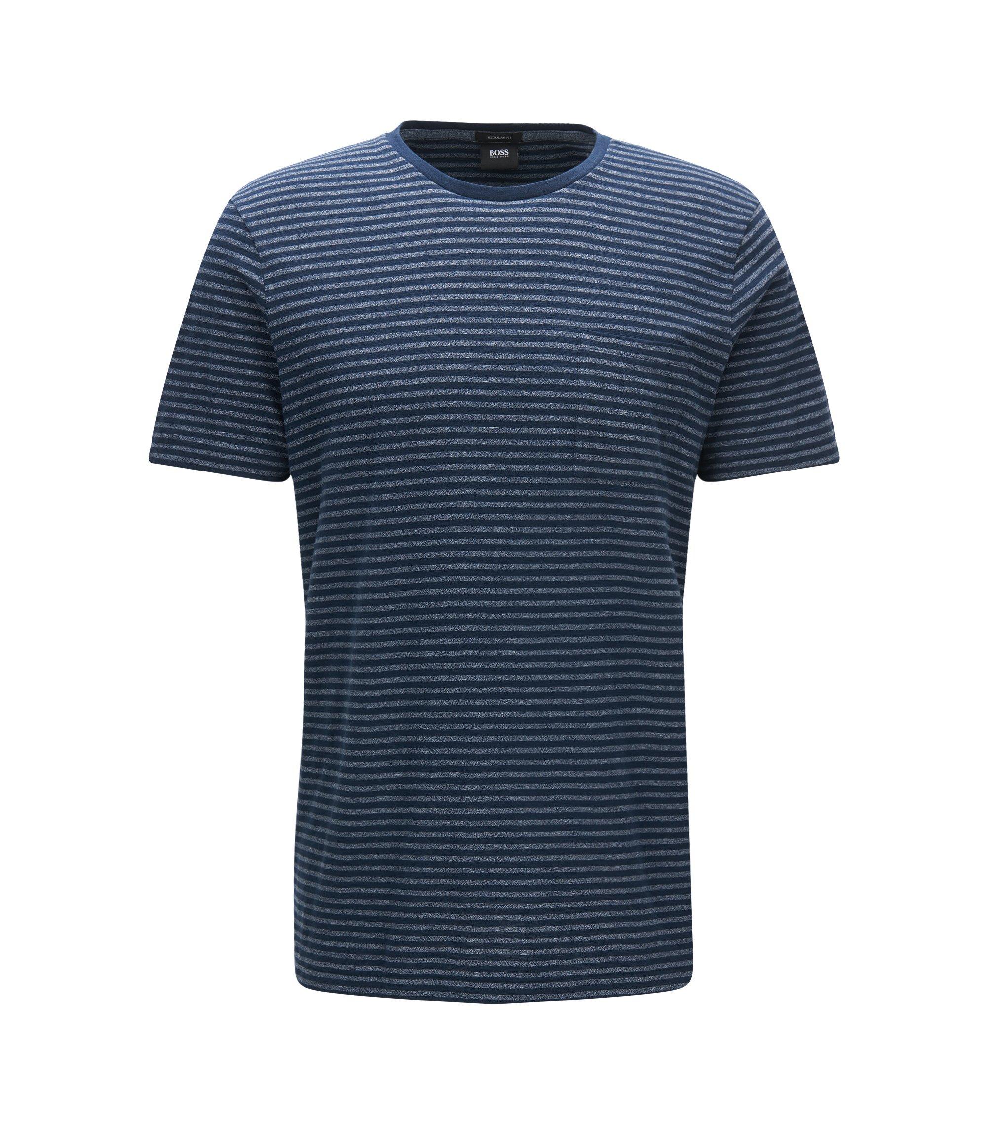 Regular-fit T-shirt van een katoenmix met gestreepte moulinéstructuur, Donkerblauw