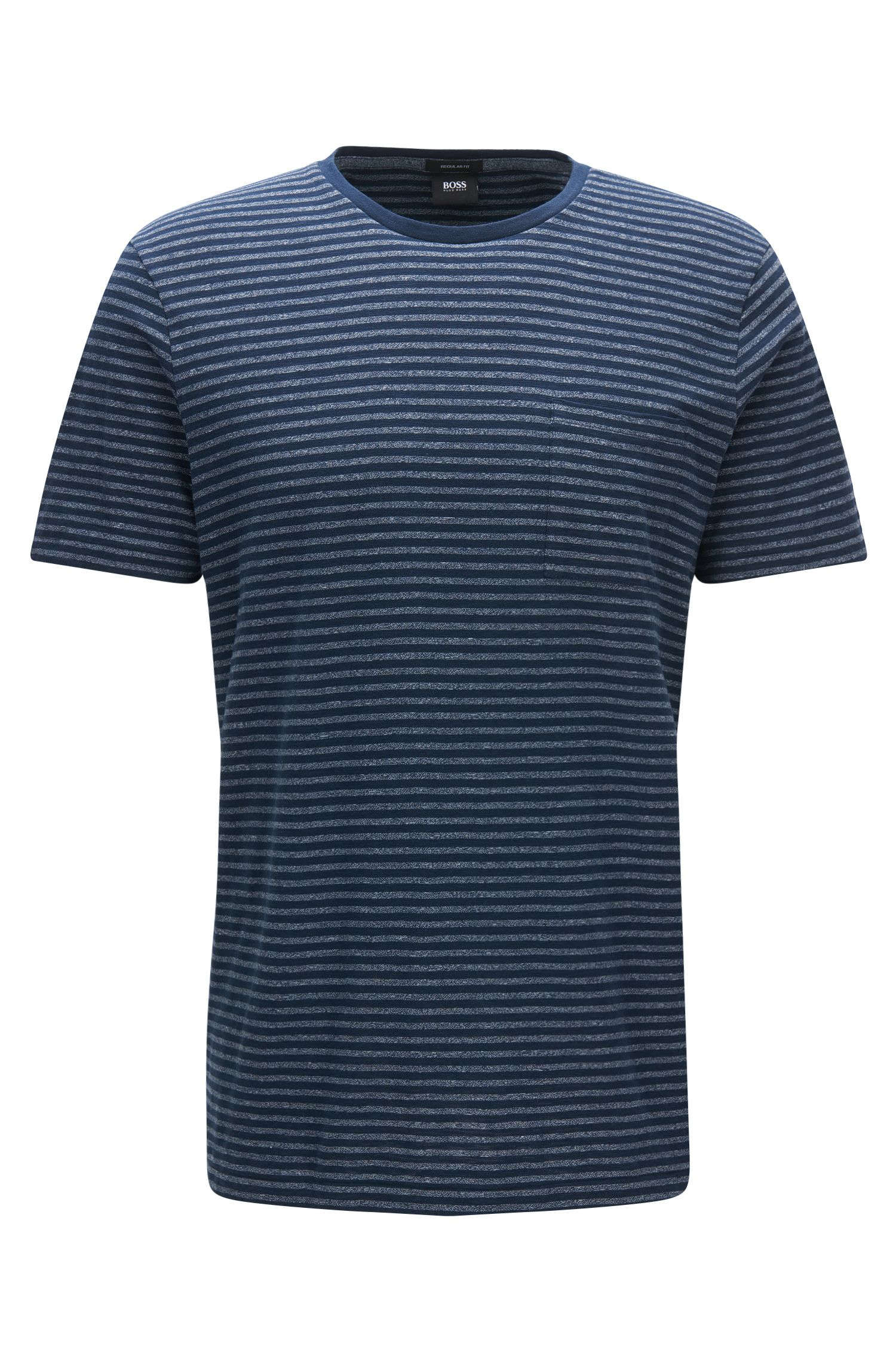 Regular-fit cotton blend T-shirt in mouliné striped fabric
