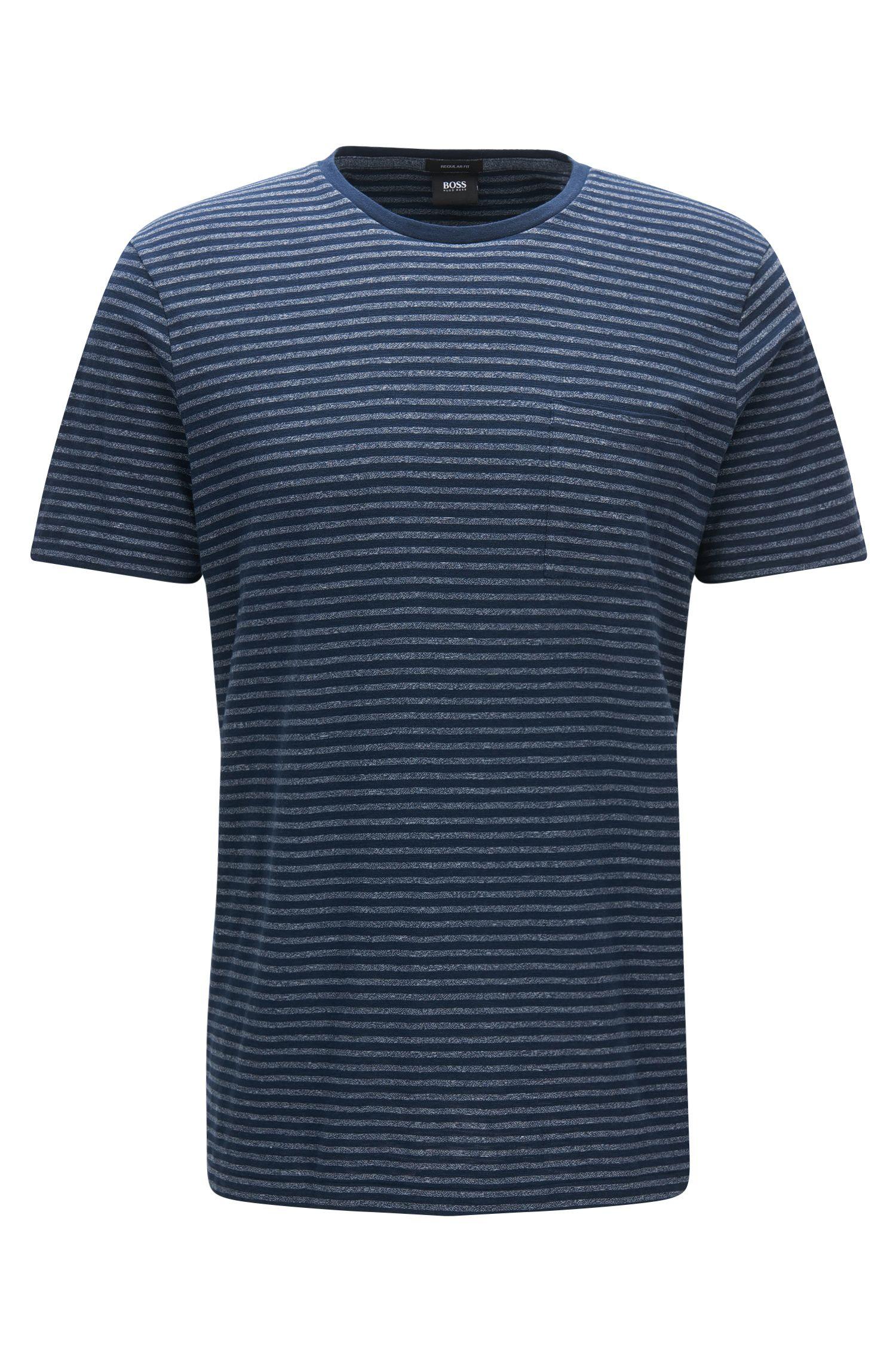 Camiseta regular fit en mezcla de algodón con tejido mouliné a rayas