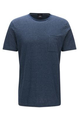 Regular-fit cotton blend T-shirt in mouliné striped fabric, Dark Blue