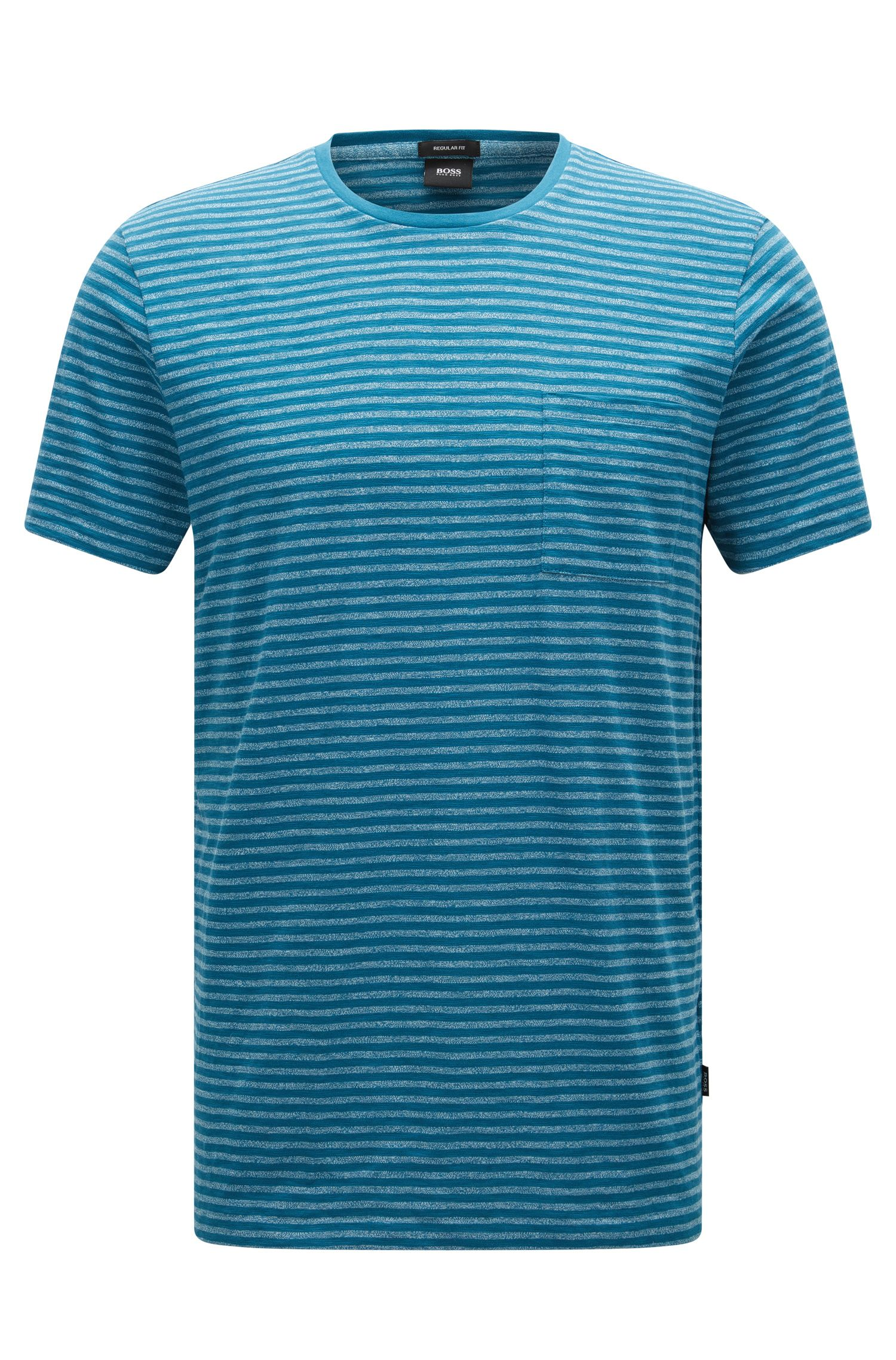 Regular-fit T-shirt van een katoenmix met gestreepte moulinéstructuur