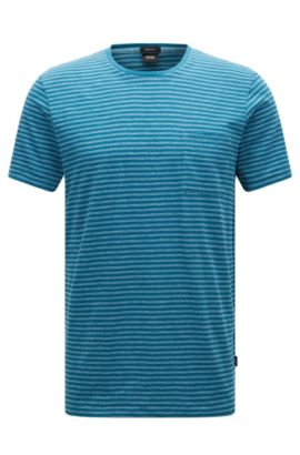Regular-fit cotton blend T-shirt in mouliné striped fabric, Turquoise