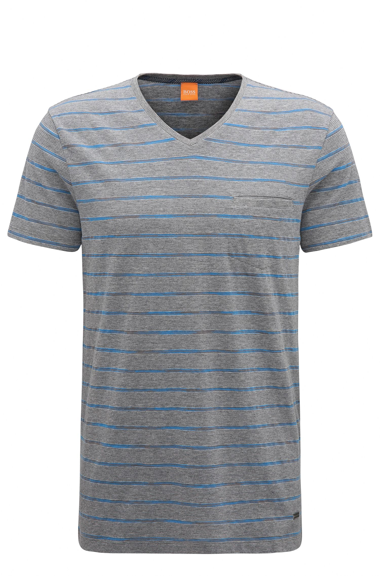 Regular-fit cotton-blend T-shirt with space-dye stripes