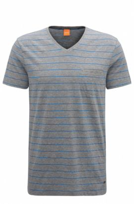 Regular-fit cotton-blend T-shirt with space-dye stripes, Light Grey