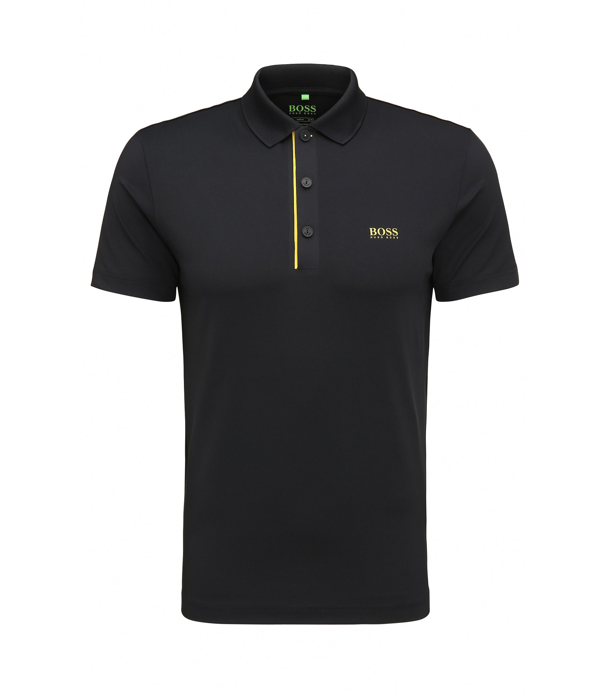 Polo Slim Fit en tissu technique stretch, Noir