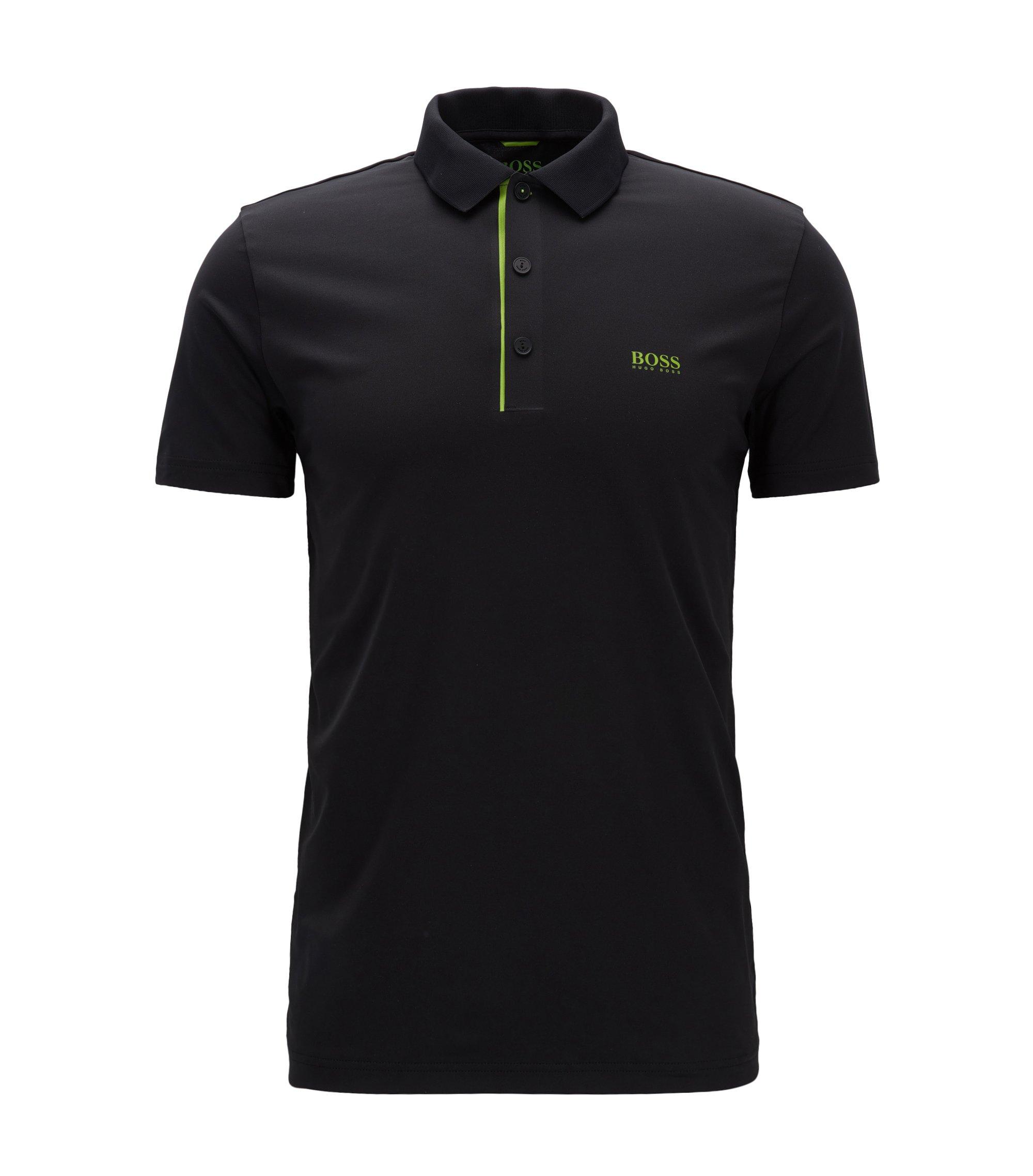 Slim-Fit Poloshirt aus elastischem Material-Mix, Schwarz