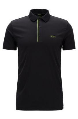 Slim-fit polo shirt in stretch technical fabric, Black
