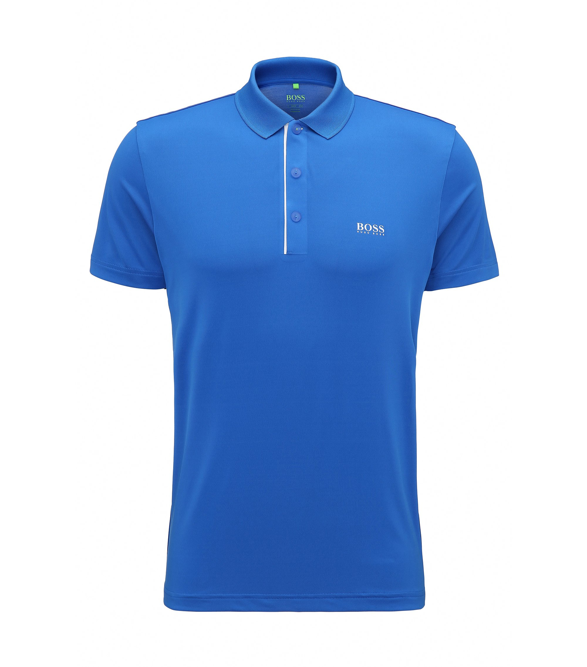 Slim-fit polo shirt in stretch technical fabric, Blue
