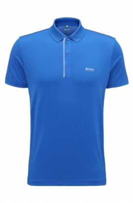 Slim-fit polo shirt in stretch technical fabric, Open Blue
