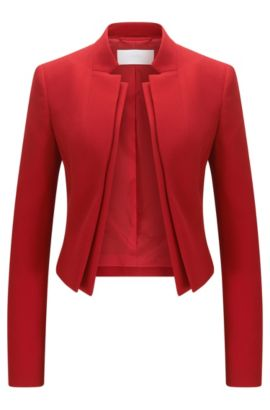 Regular-Fit Jacke aus Material-Mix mit doppeltem Revers, Rot