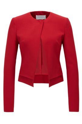 Regular-fit jacket in satinback crêpe, Red