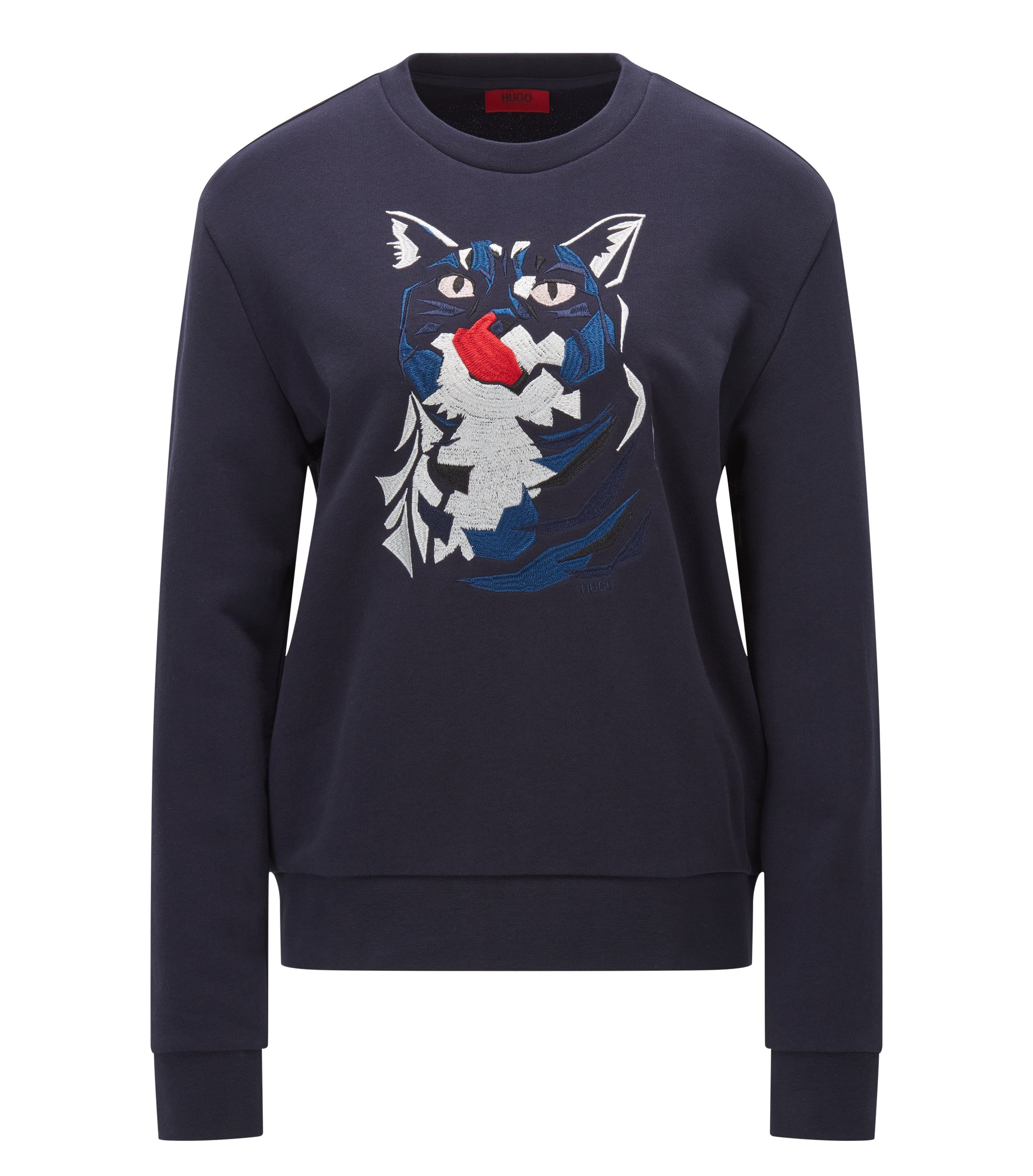 Relaxed-fit cotton sweater with cat embroidery, Dark Blue