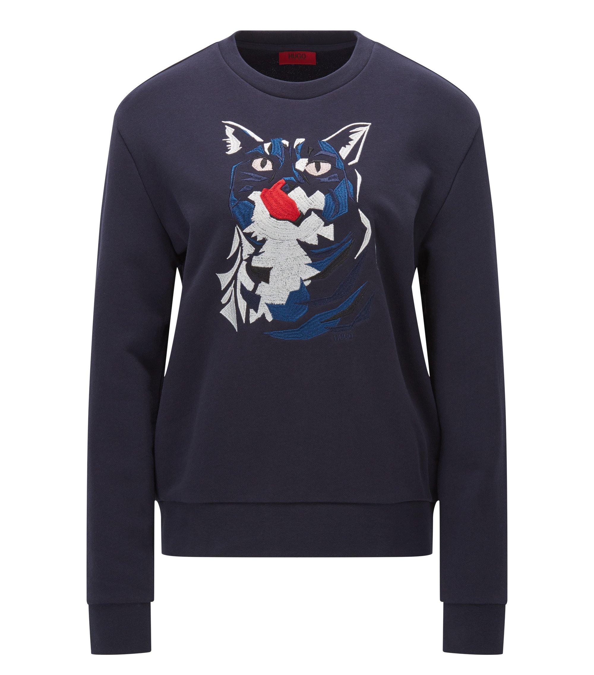 Relaxed-Fit Pullover aus Baumwolle mit Katzenstickerei, Dunkelblau