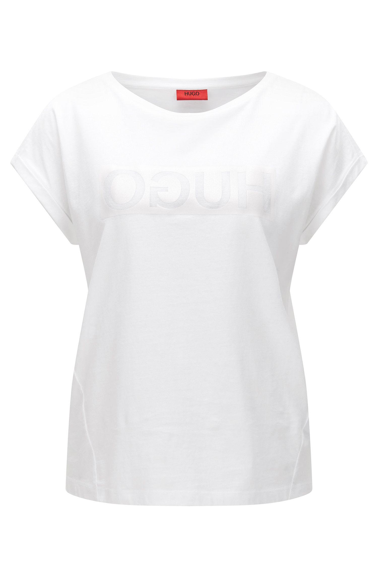 Camiseta relaxed fit en algodón con logo invertido