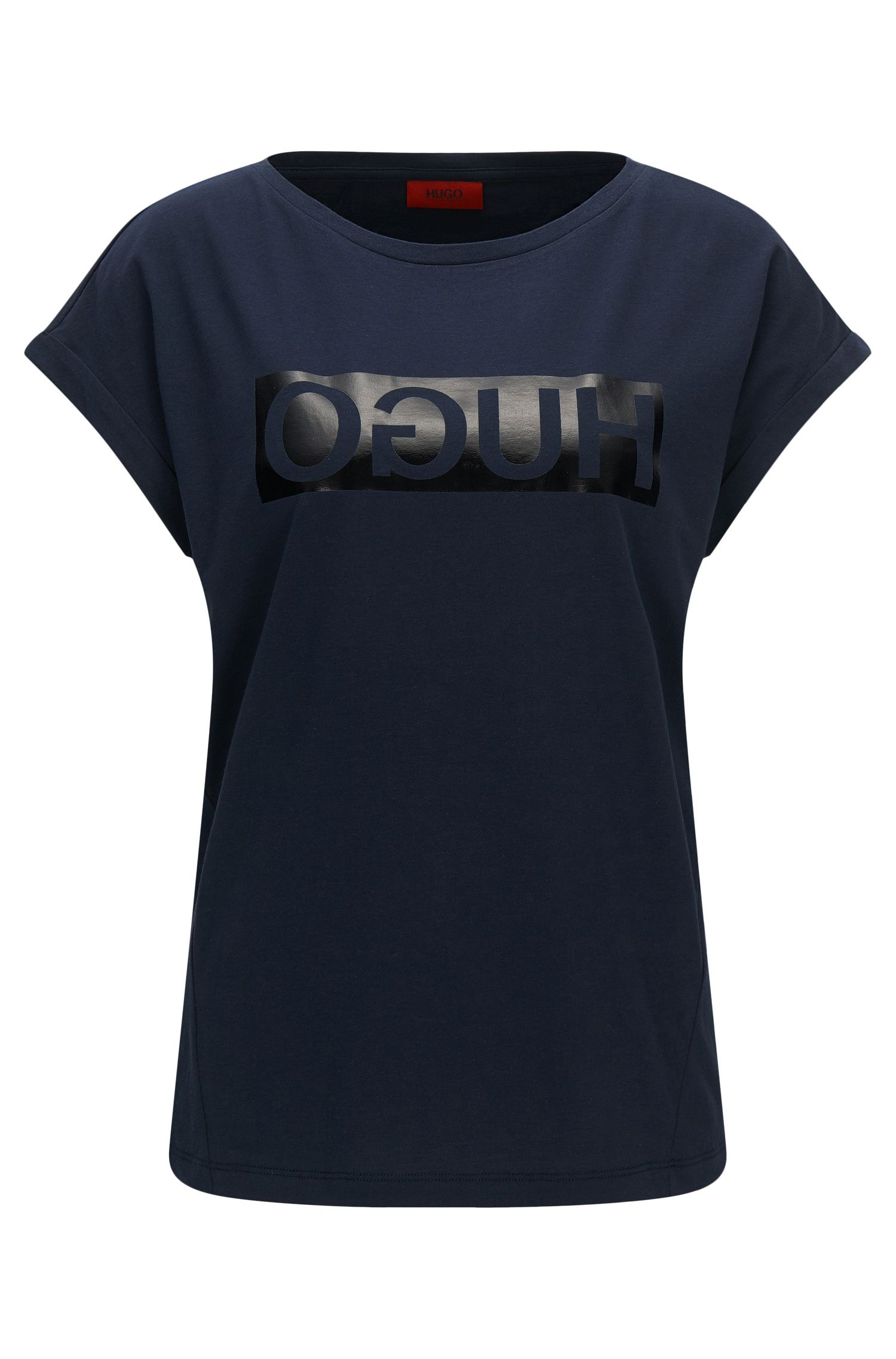 T-shirt relaxed fit in cotone con logo a rovescio