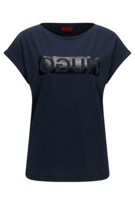 Camiseta relaxed fit en algodón con logo invertido, Azul oscuro
