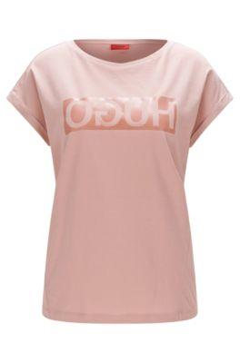 T-shirt relaxed fit in cotone con logo a rovescio, Rosa chiaro