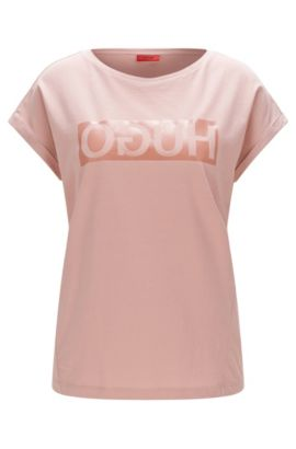 Relaxed-fit T-shirt in cotton with reverse logo, light pink