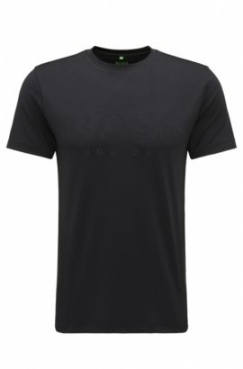 T-shirt Slim Fit en tissu stretch technique, Noir