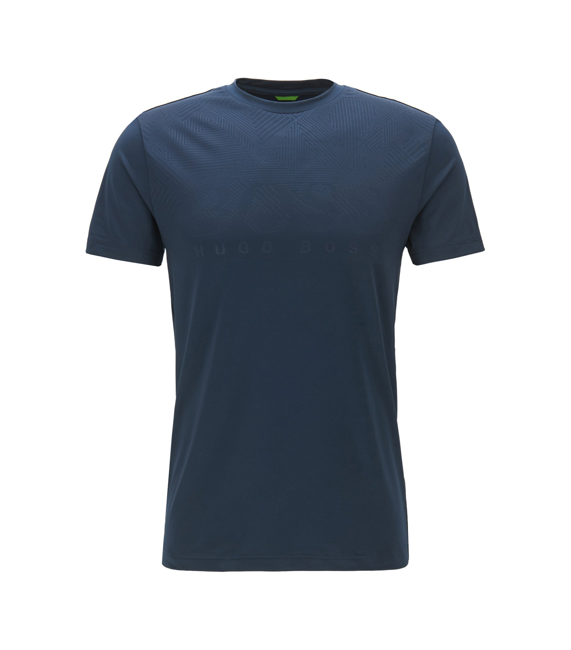 Slim-fit T-shirt in technical stretch fabric, Azul oscuro