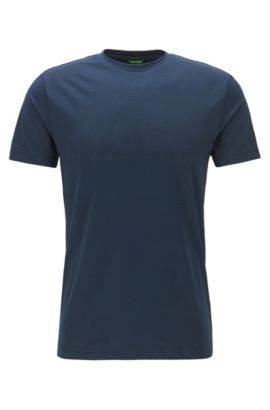 Slim-fit T-shirt in technical stretch fabric, Dark Blue