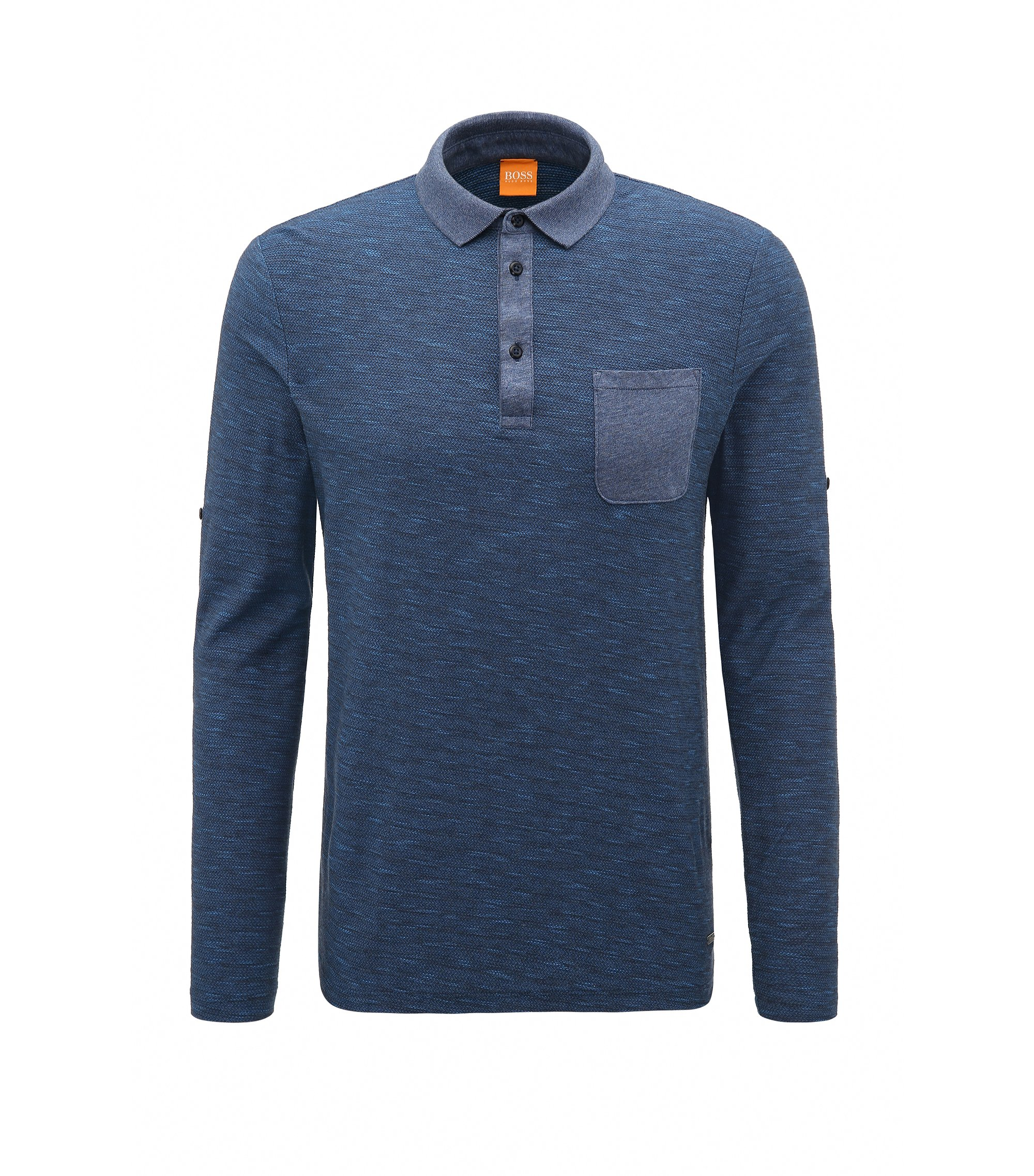 Relaxed-fit cotton polo with roll-up sleeves, Dark Blue