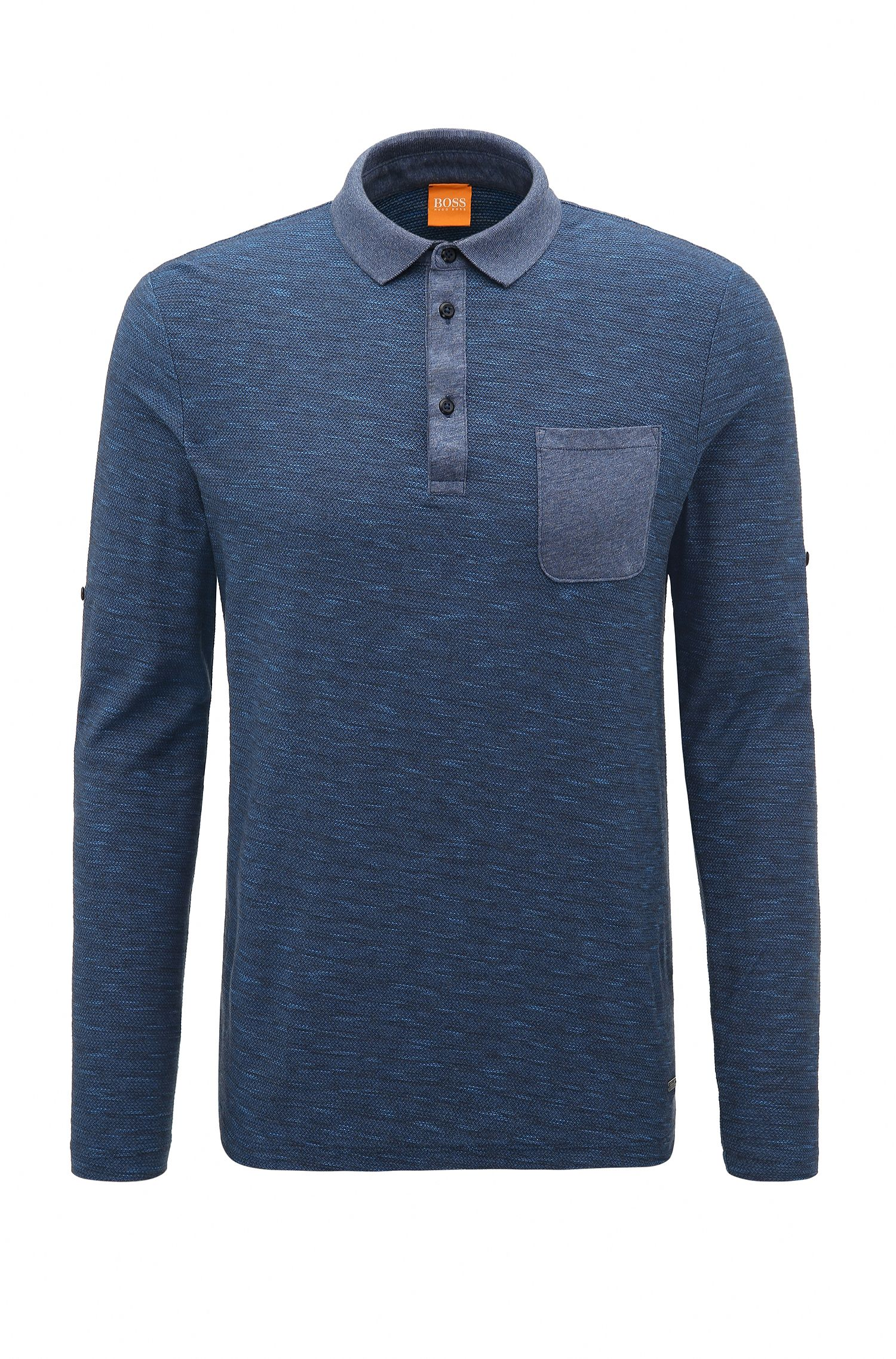 Relaxed-fit cotton polo with roll-up sleeves