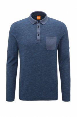 Relaxed-Fit Poloshirt aus Baumwolle mit fixierbaren Ärmeln, Dunkelblau