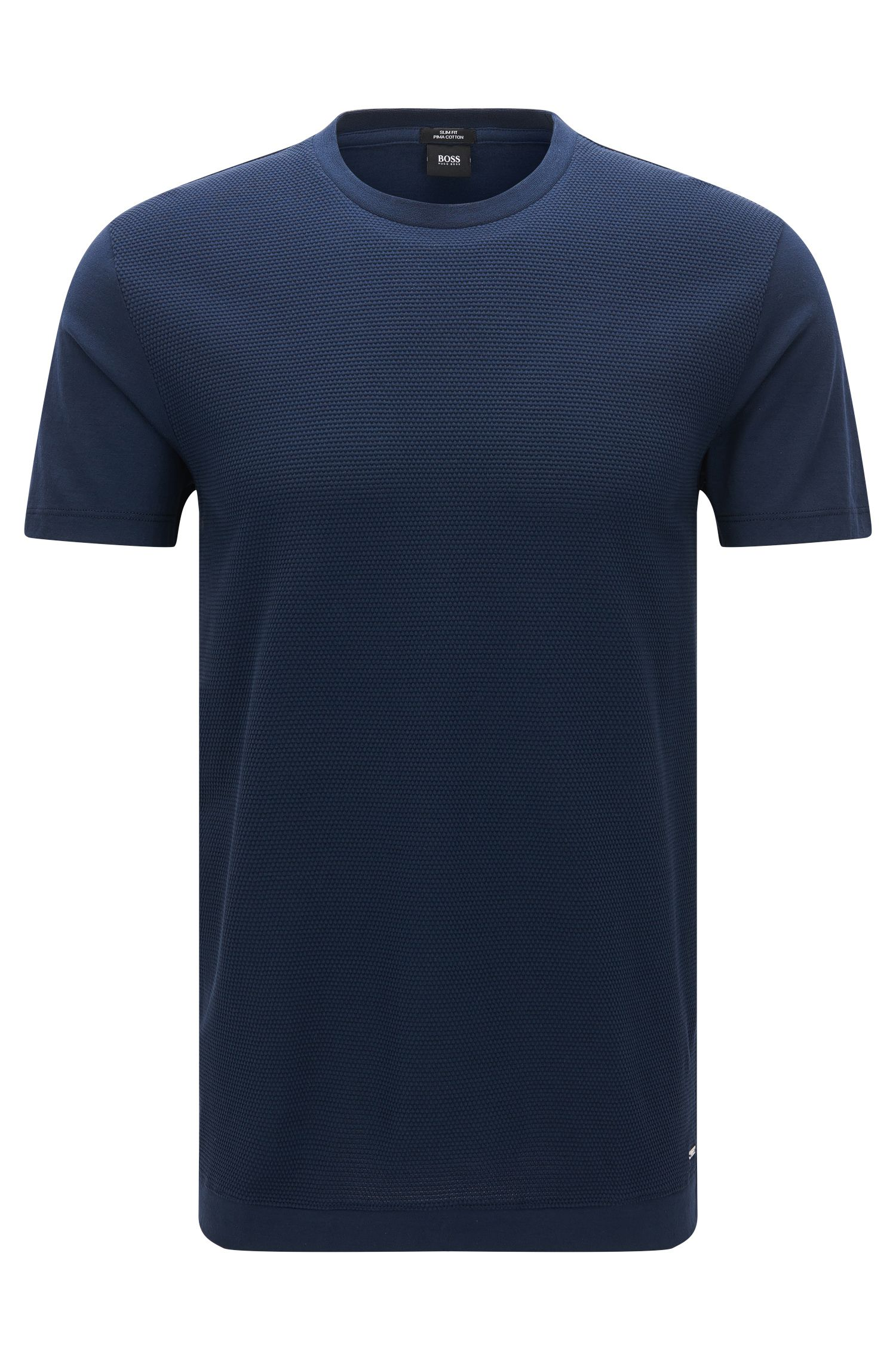 Crew-neck T-shirt with structured front panel