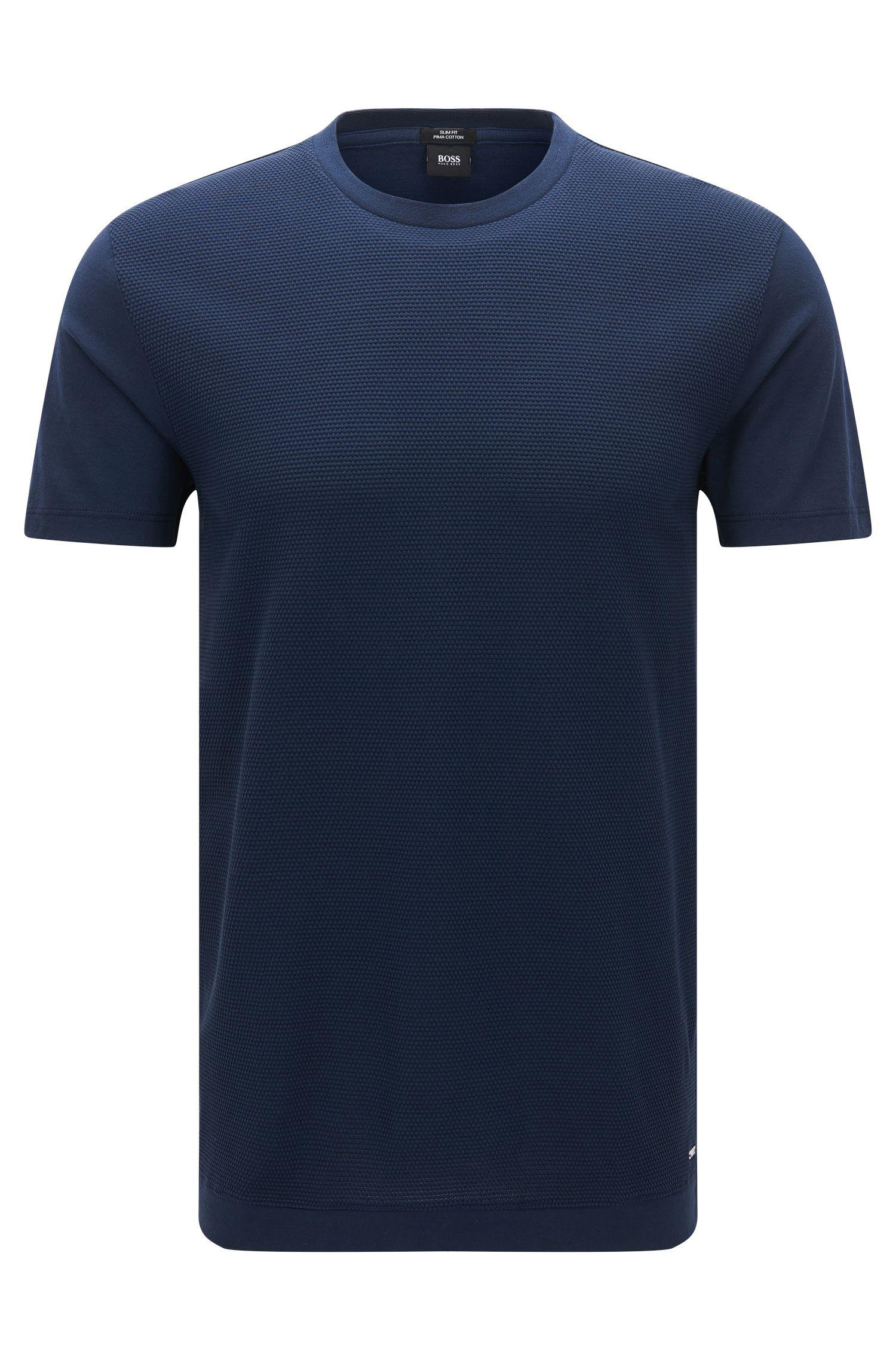 Partiell strukturiertes T-Shirt mit Rundhalsausschnitt