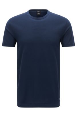 Crew-neck T-shirt with structured front panel, Dark Blue