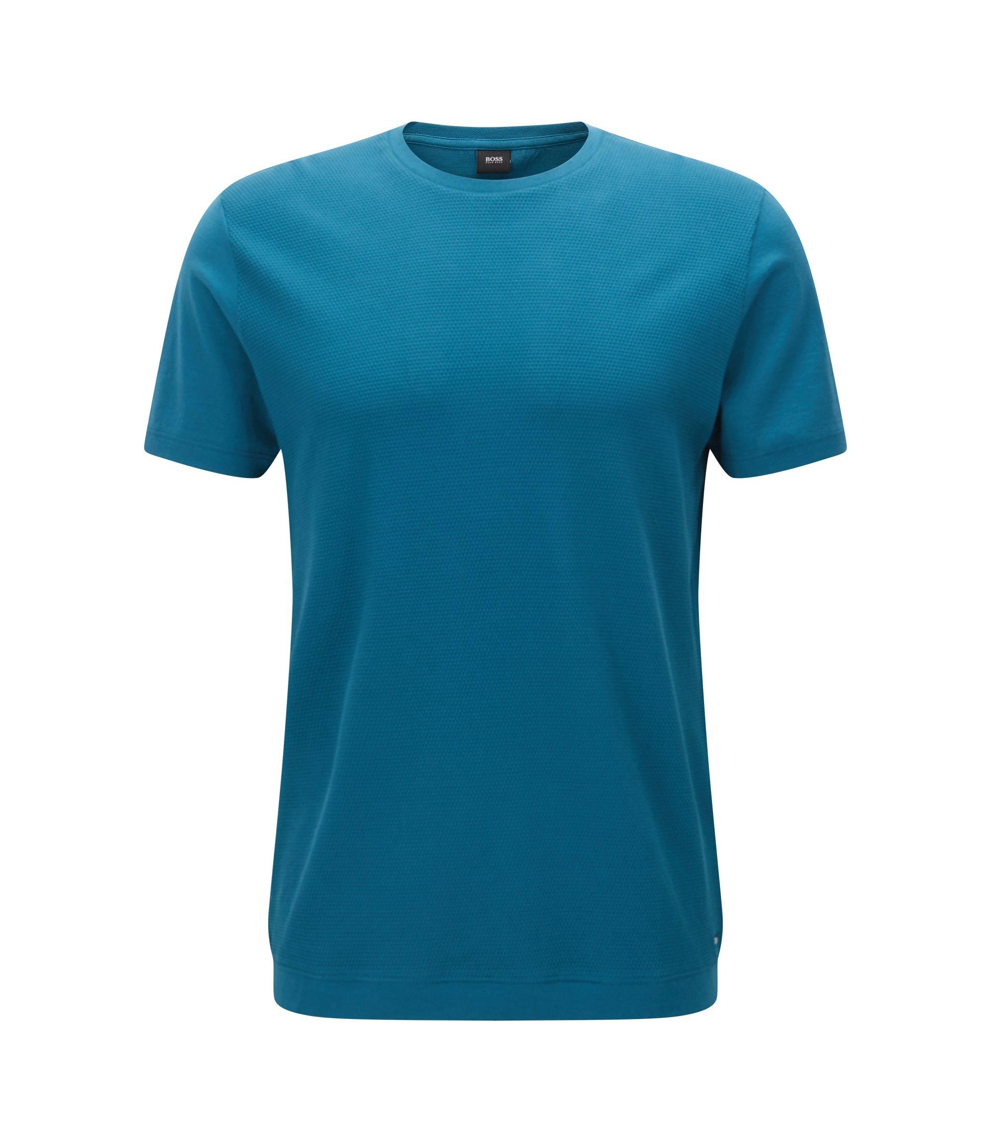 T-shirt à col ras-du-cou pourvu d'un panneau frontal structuré, Turquoise