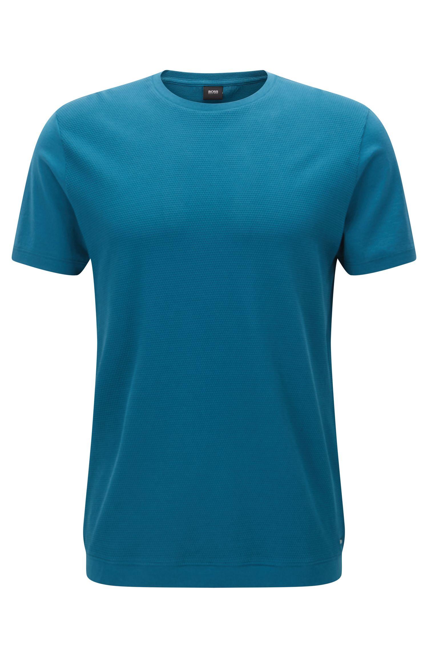 T-shirt à col ras-du-cou pourvu d'un panneau frontal structuré