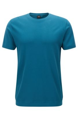 Crew-neck T-shirt with structured front panel, Turquoise