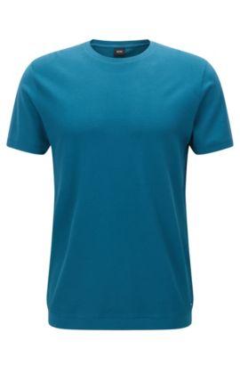 Camiseta de cuello redondo con panel frontal con textura, Turquesa