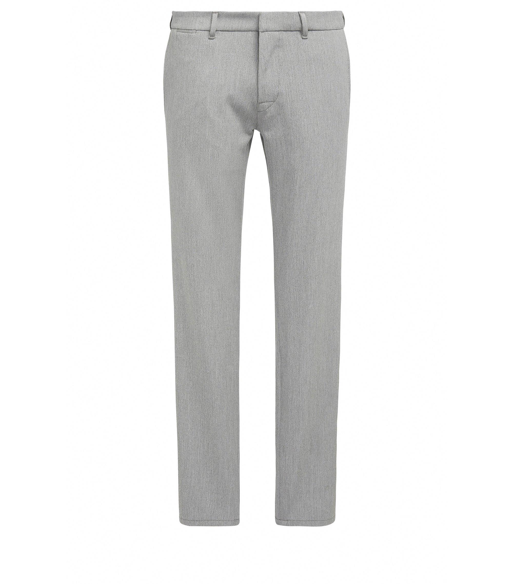 Pantalon Slim Fit en twill stretch orné de surpiqûres , Gris chiné
